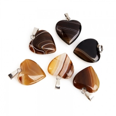 Кулон агат коричневый Ботсвана (биж. сплав) сердечко 2,5-3 см