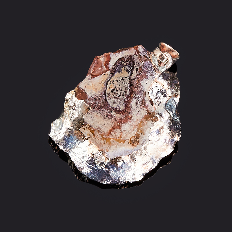 Кулон агат серый жеода с кристаллом цитрина Бразилия (биж. сплав) 3,5 см