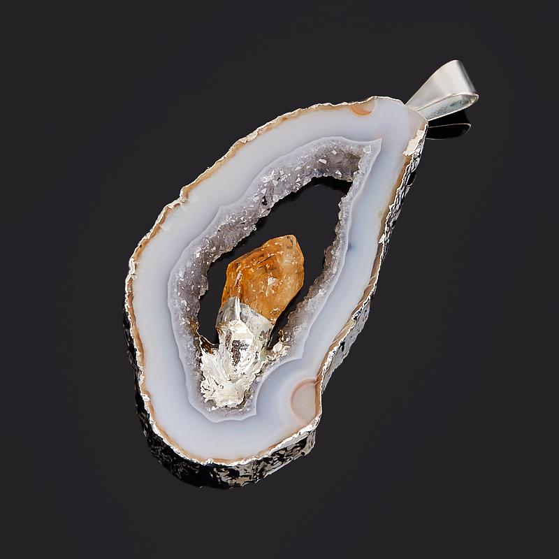 Кулон агат серый Бразилия срез с кристаллом цитрина (биж. сплав) 4-6 см