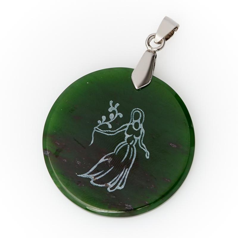 Кулон нефрит зеленый Россия круг (биж. сплав) 5 см