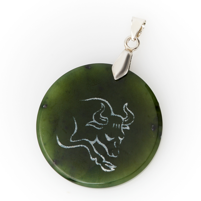 Кулон нефрит зеленый круг Телец (биж. сплав) 5 см кулон нефрит зеленый 5 см