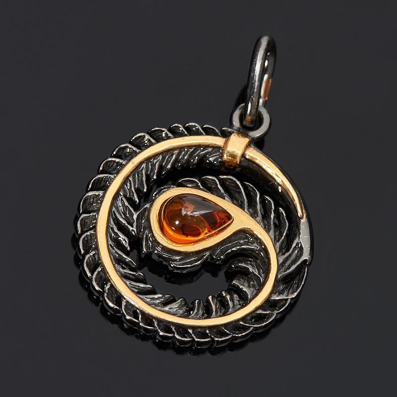 Кулон янтарь пресс (серебро 925 пр. позолота, родир. черн.) круг