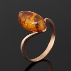 Кольцо янтарь пресс Россия (серебро 925 пр. позолота) размер 17
