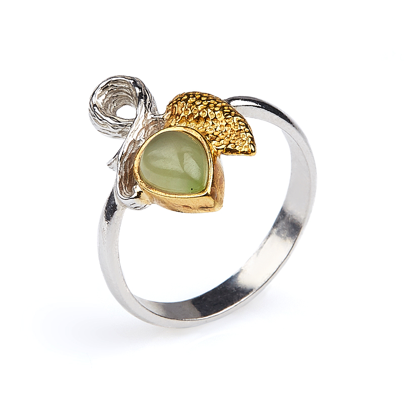 Кольцо нефрит зеленый Россия (серебро 925 пр. позолота, родир. бел.) размер 19,5