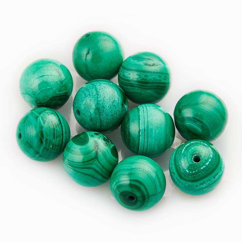 Бусина малахит шарик 8 мм (1 шт) бусина гранат альмандин шарик 14 мм 1 шт