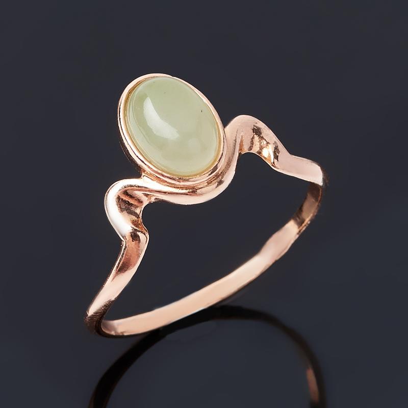 Кольцо нефрит зеленый Россия (серебро 925 пр. позолота) размер 16
