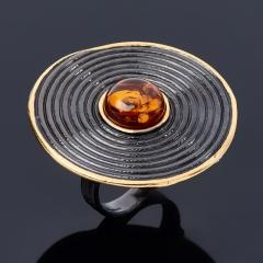 Кольцо янтарь Россия (серебро 925 пр. позолота, родир. черн.) размер 18