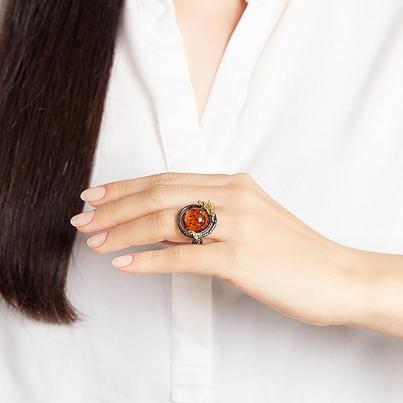 Кольцо янтарь пресс Россия (серебро 925 пр. позолота, родир. черн.) размер 17