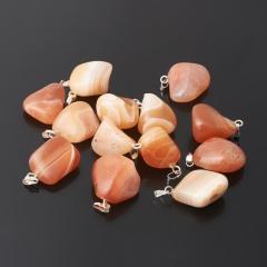 Кулон агат абрикосовый Ботсвана (биж. сплав) галтовка 2-3 см