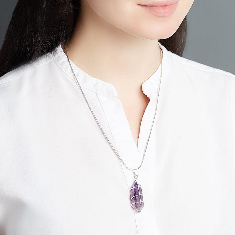 Кулон аметист Бразилия (биж. сплав) кристалл 5-6 см