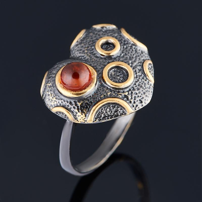 Кольцо янтарь Россия (серебро 925 пр. позолота, родир. черн.) размер 17,5