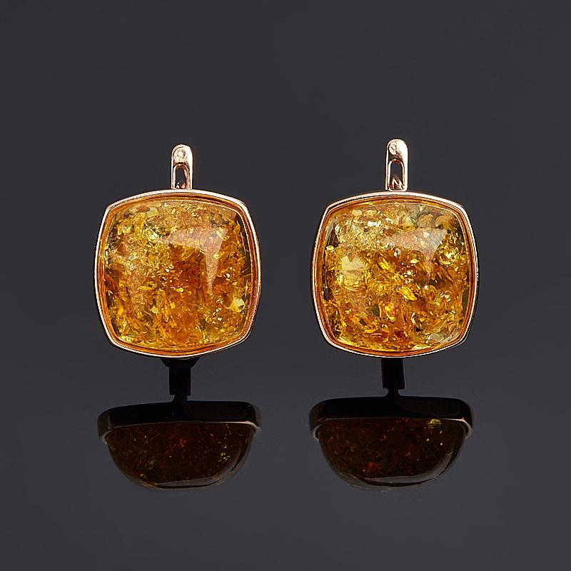 Серьги янтарь пресс (серебро 925 пр. позолота)