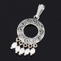 Кулон жемчуг белый Гонконг (серебро 925 пр. оксидир.)