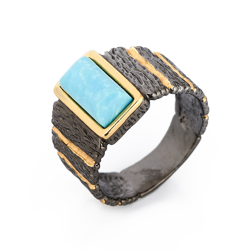 Кольцо бирюза Тибет (серебро 925 пр. позолота, родир. черн.) размер 22