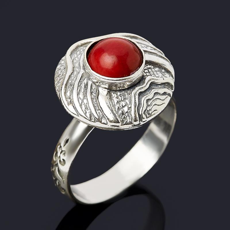 цена Кольцо коралл красный (серебро 925 пр. оксидир.) размер 19 онлайн в 2017 году