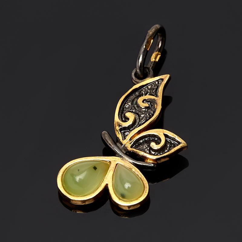 Кулон нефрит зеленый (серебро 925 пр. позолота, родир. черн.) бабочка