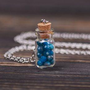 Кулон апатит синий Бразилия (биж. сплав) бутылочка огранка 3,5 см