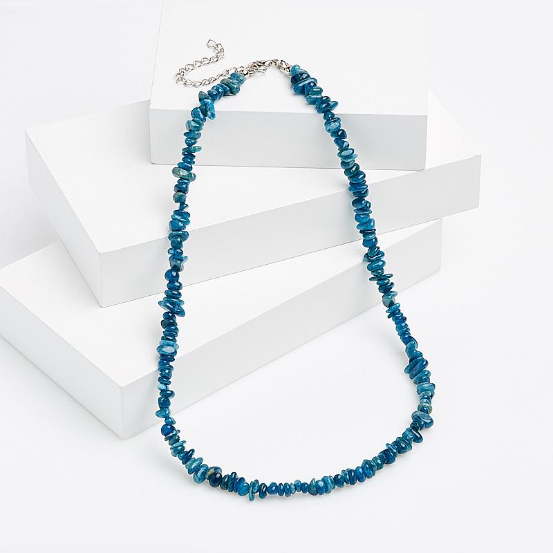 Бусы апатит синий (биж. сплав) 49-56 см