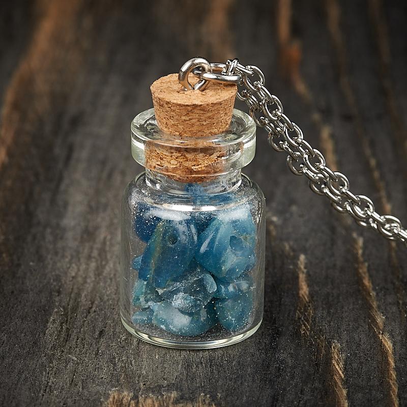 Кулон апатит синий Бразилия (биж. сплав) бутылочка 3 см