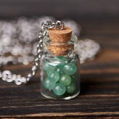 Кулон авантюрин зеленый Индия (биж. сплав) бутылочка 3 см