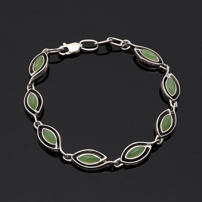 Браслет нефрит зеленый (серебро 925 пр. родир. бел.) 18 см