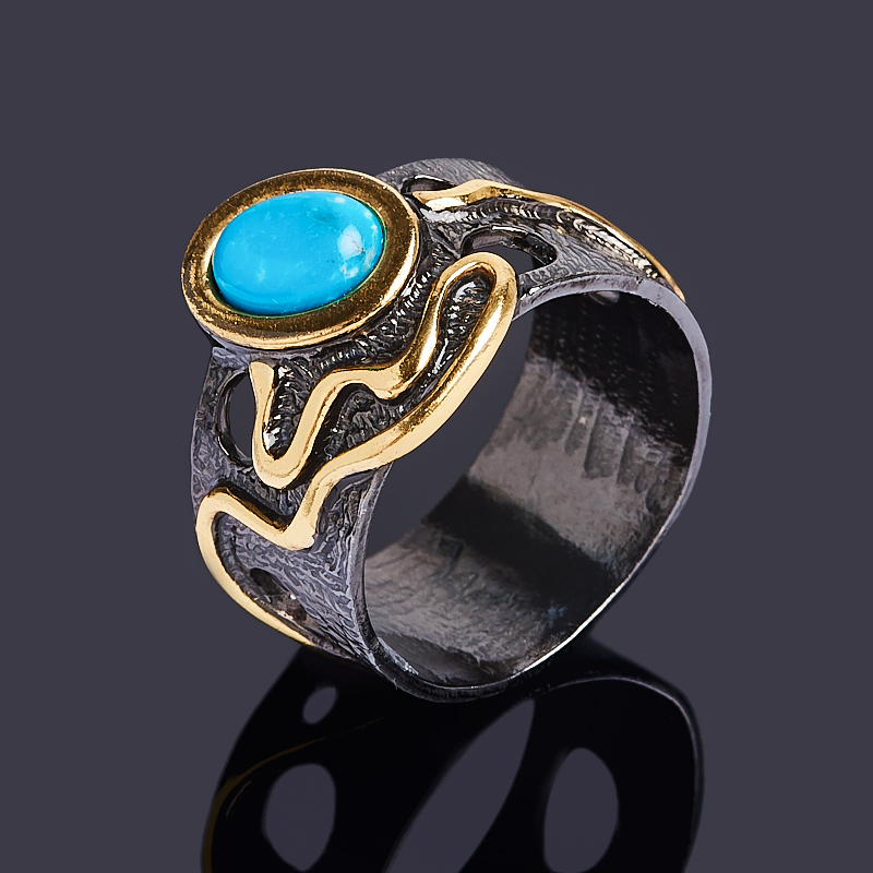 Кольцо бирюза Тибет (серебро 925 пр. позолота, родир. черн.) размер 17