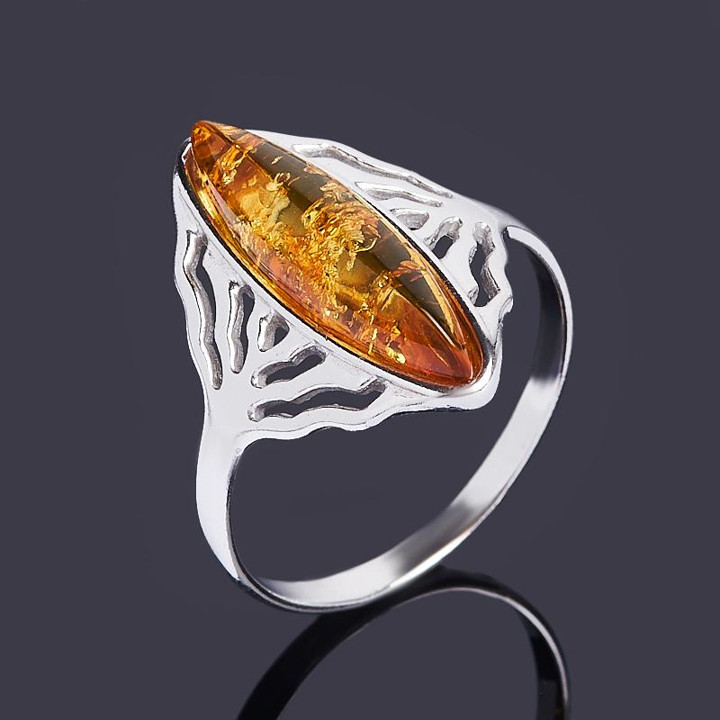 Кольцо янтарь пресс (серебро 925 пр. родир. бел.) размер 18,5
