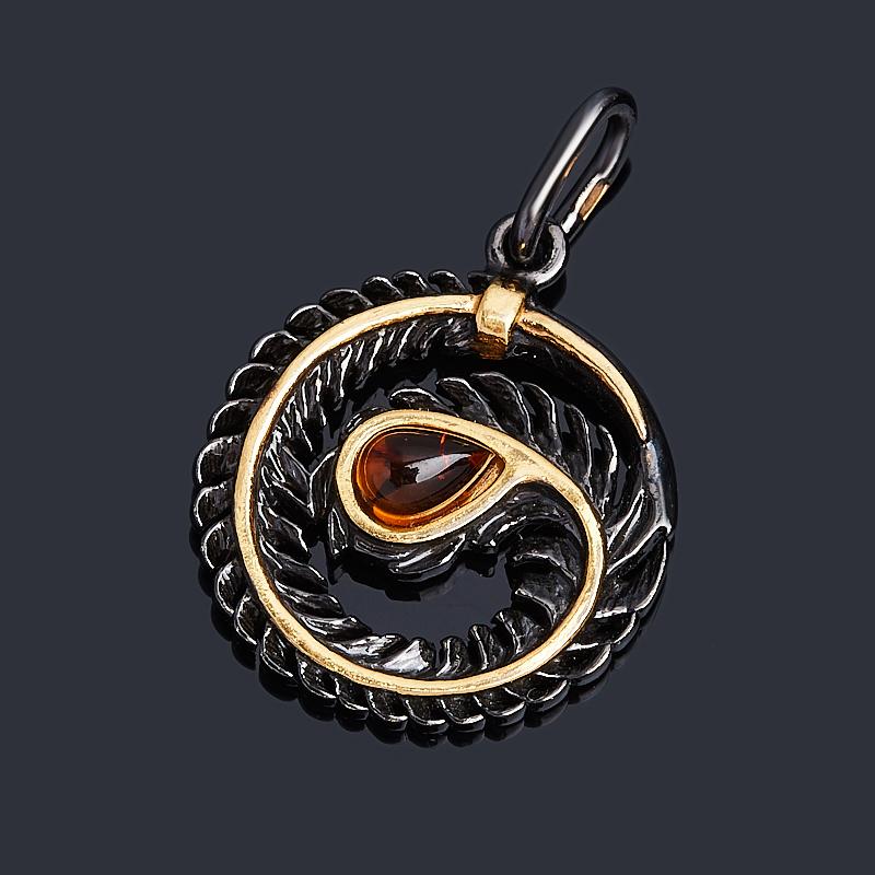 Кулон янтарь (серебро 925 пр. позолота, родир. черн.) круг