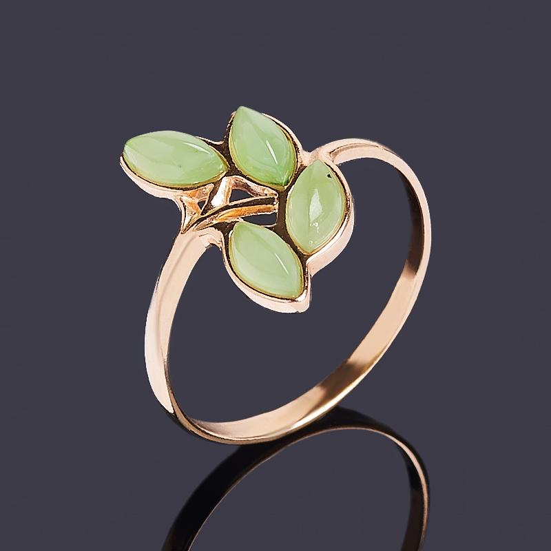 Кольцо нефрит зеленый Россия (серебро 925 пр. позолота) размер 21