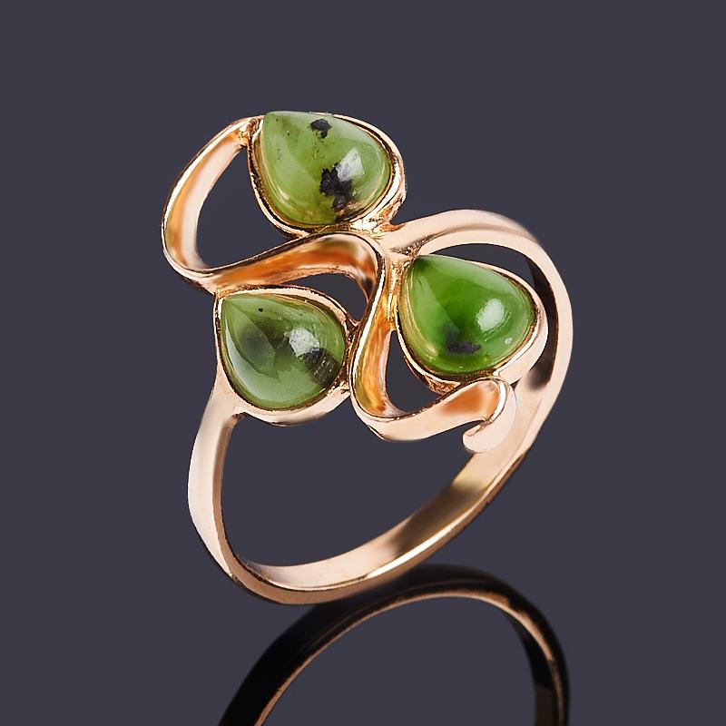 Кольцо нефрит зеленый Россия (серебро 925 пр. позолота) размер 21,5