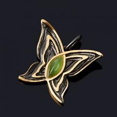 Кулон нефрит зеленый Россия (серебро 925 пр. позолота, родир. черн.) бабочка