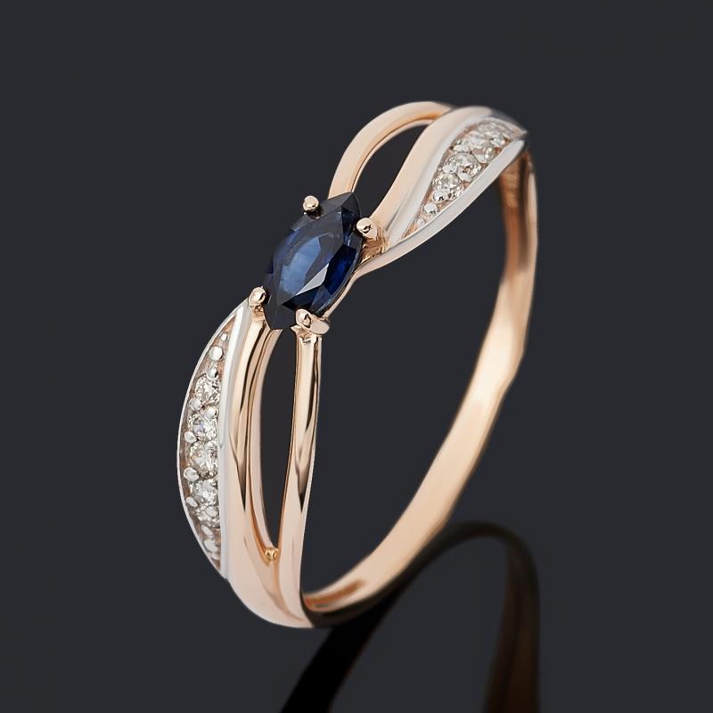 Кольцо бриллиант, сапфир (золото 585 пр.) огранка размер 20