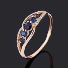 Кольцо бриллиант, сапфир (золото 585 пр.) огранка размер 18,5