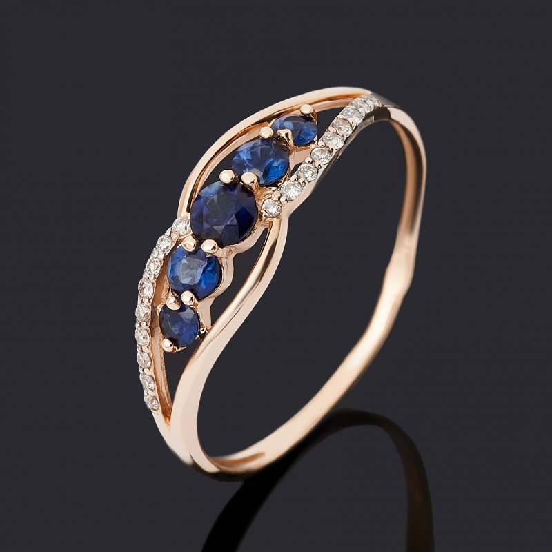 Кольцо бриллиант, сапфир (золото 585 пр.) огранка размер 21
