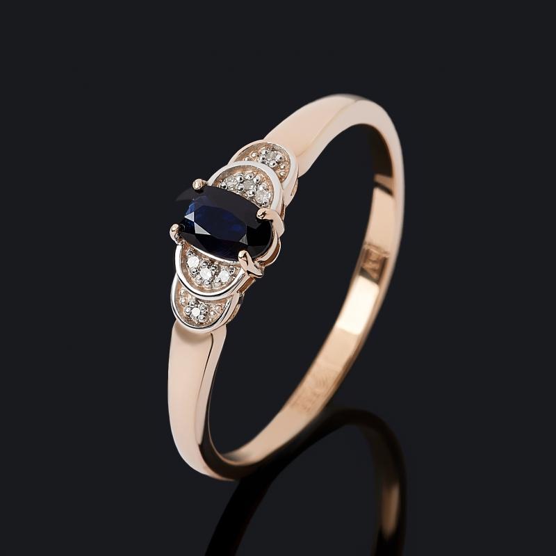 Кольцо бриллиант, сапфир (золото 585 пр. родир. бел.) огранка размер 17