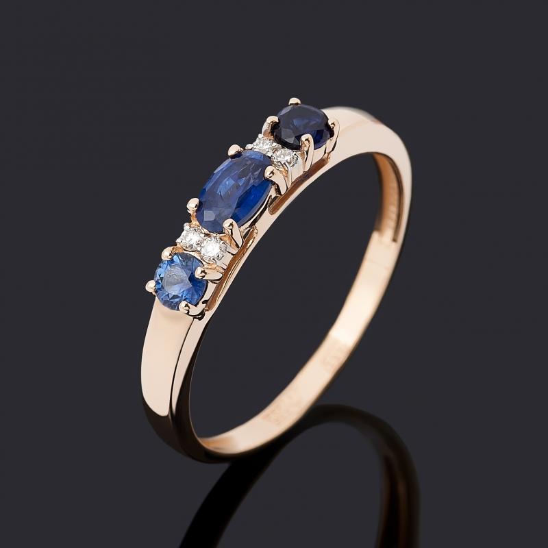 Кольцо бриллиант, сапфир (золото 585 пр.) огранка размер 19