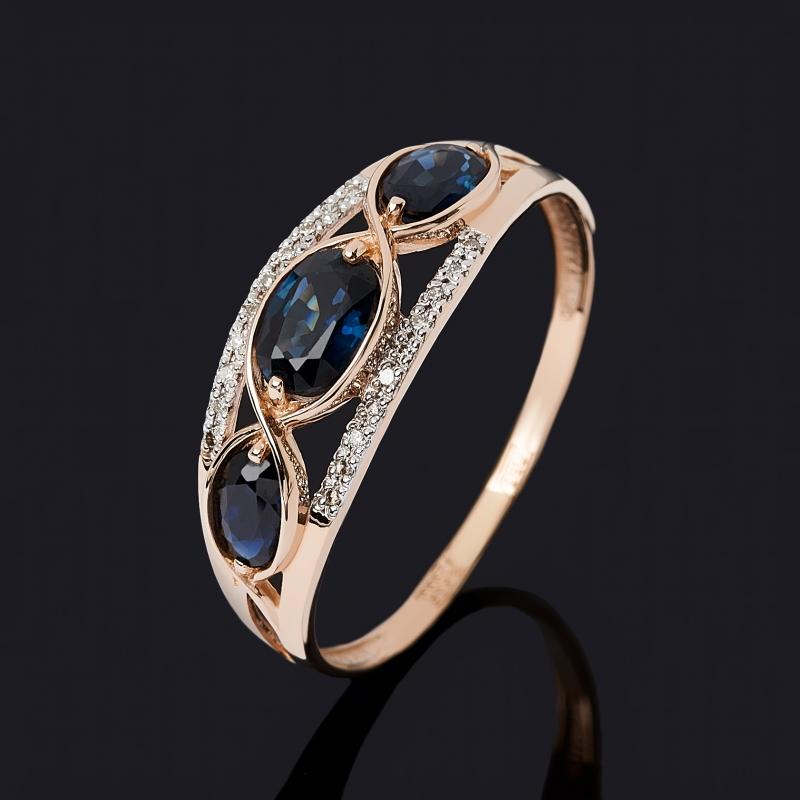 Кольцо бриллиант, сапфир (золото 585 пр.) огранка размер 16