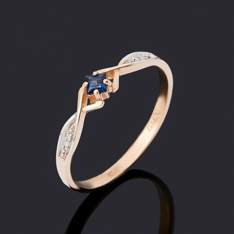 Кольцо бриллиант, сапфир (золото 585 пр.) огранка размер 20,5