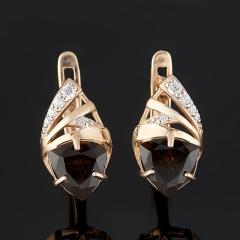 Серьги раухтопаз Бразилия (золото 585 пр. родир. бел.) огранка