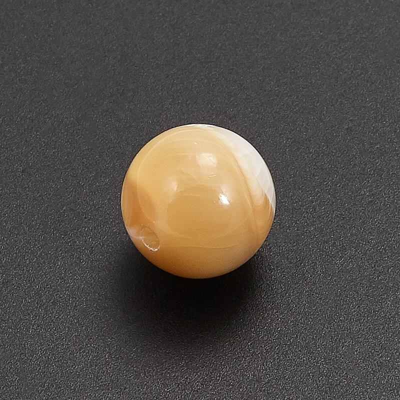 Бусина перламутр бежевый Индонезия шарик 6-6,5 мм (1 шт)