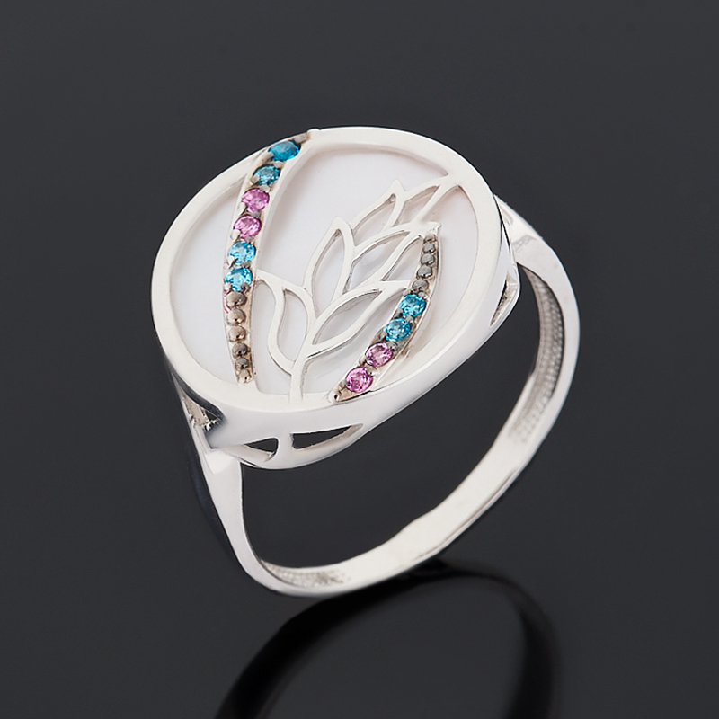 Кольцо перламутр розовый (серебро 925 пр. родир. бел., родир. черн.) размер 18