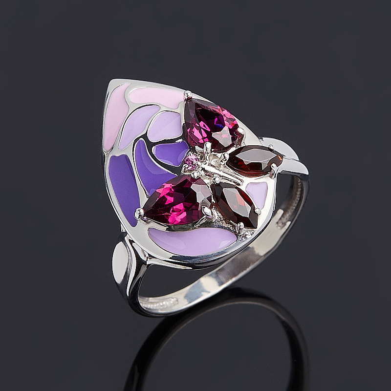 Кольцо микс гранат альмандин родолит огранка (серебро 925 пр. родир. бел. эмаль) размер 18