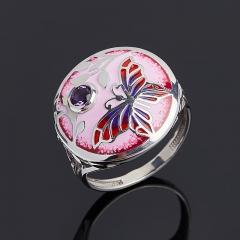 Кольцо аметист, гранат огранка (серебро 925 пр. родир. бел. родир. черн. эмаль) размер 18