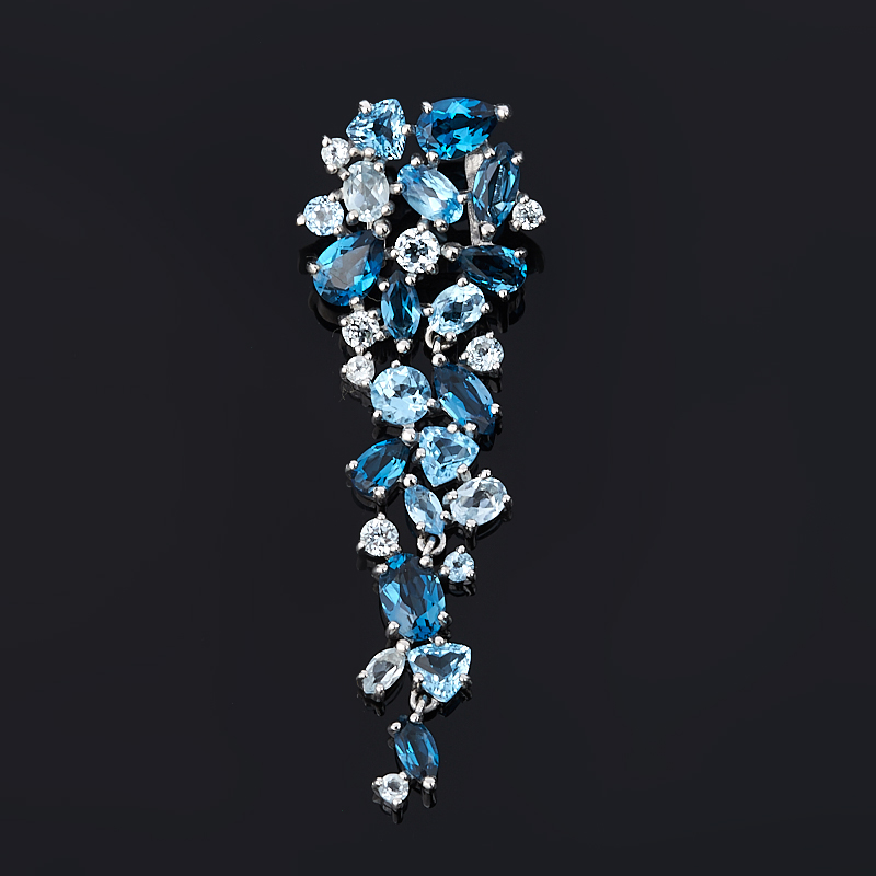 Кулон топаз swiss, голубой, лондон Бразилия (серебро 925 пр. родир. бел.) огранка