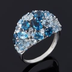 Кольцо топаз swiss, голубой, лондон Бразилия (серебро 925 пр. родир. бел.) огранка размер 18,5