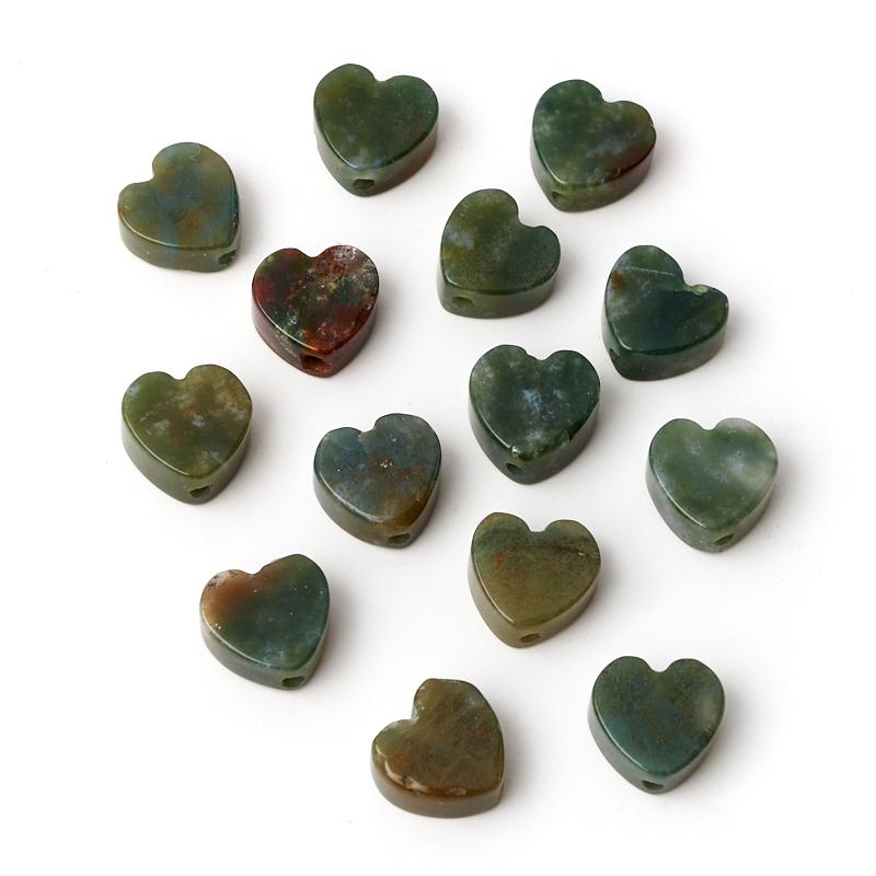 Бусина агат моховой зелёный сердечко 10*10 мм (1 шт)