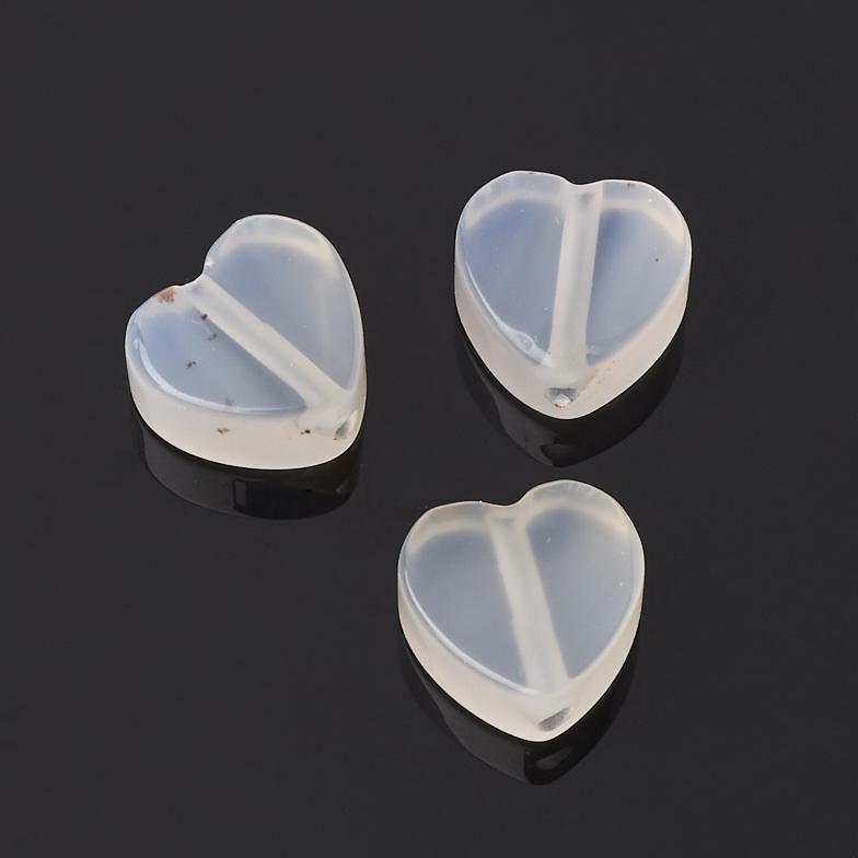 Бусина агат белый сердечко 10*10 мм (1 шт)