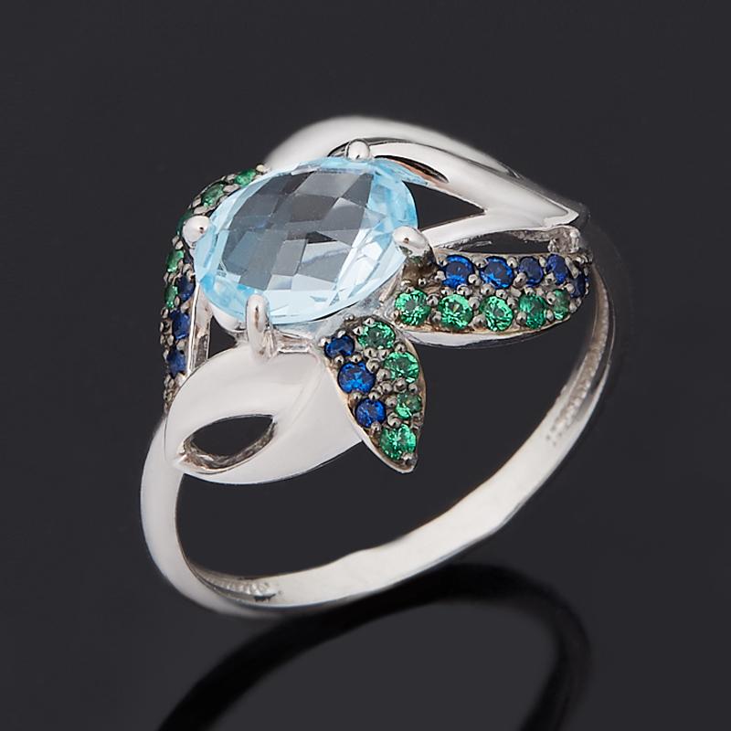Кольцо топаз голубой (серебро 925 пр. родир. бел., родир. черн.) огранка размер 17,5