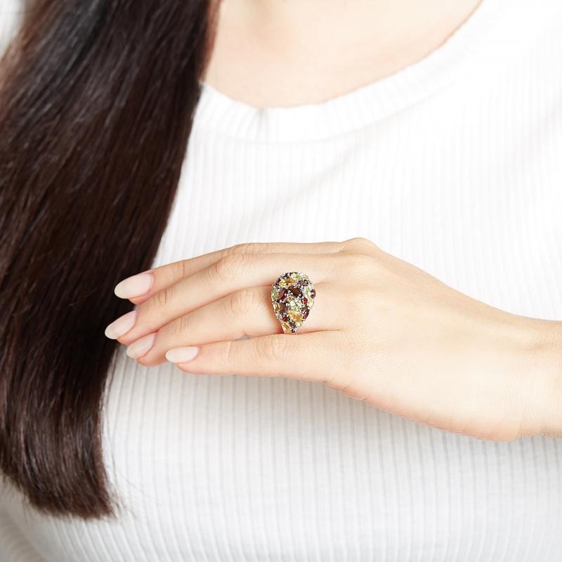 Кольцо микс гранат альмандин раухтопаз хризолит (серебро 925 пр. родир. бел.) огранка размер 18,5