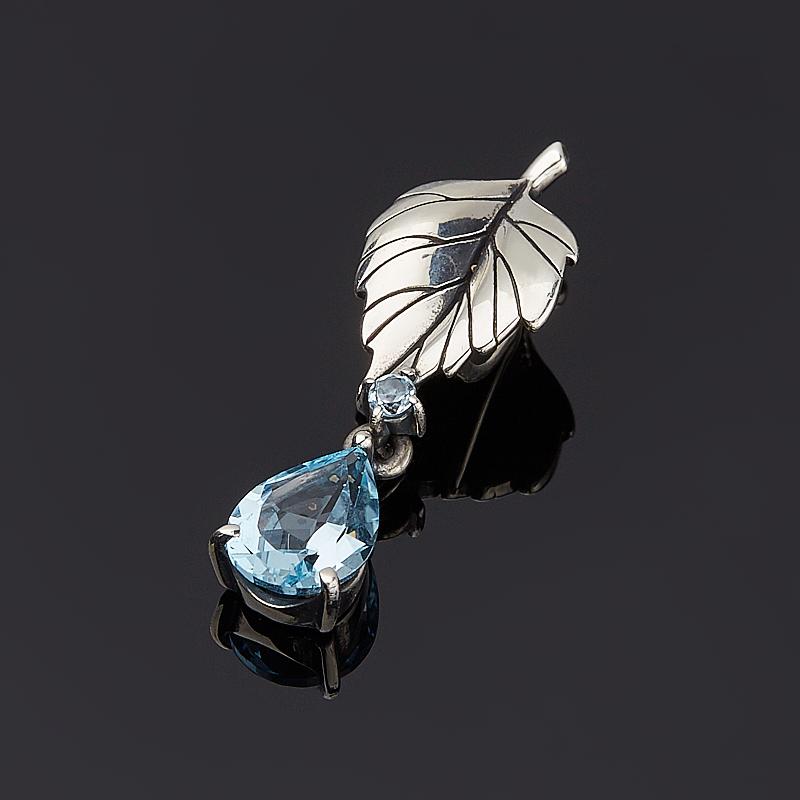 Кулон топаз голубой (серебро 925 пр. оксидир.) огранка